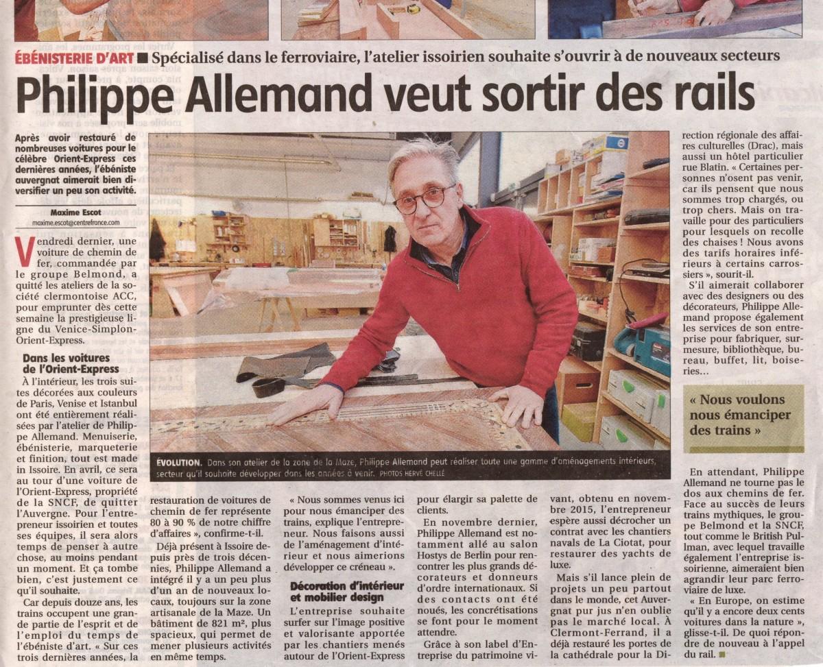 Article de La Montagne entreprendre : Philippe Allemand veut sortir des rails.