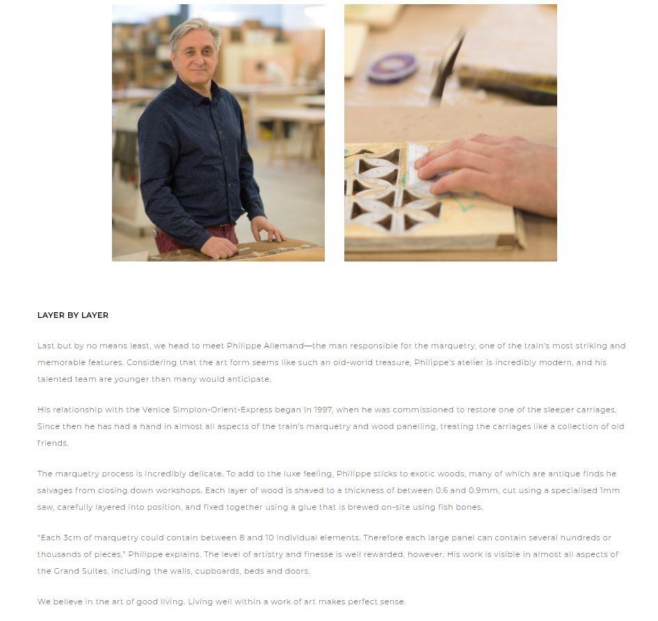 Le Groupe Belmond rend hommage à une collaboration de plus de 20 ans avec notre atelier.