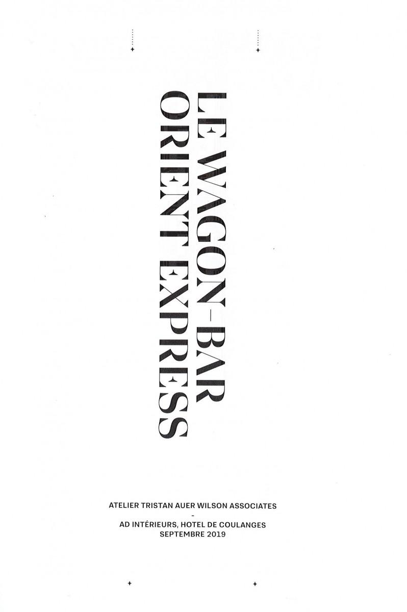 Catalogue du stand AD 2019 «Le Wagon Bar Orient-Express» par Tristan Auer