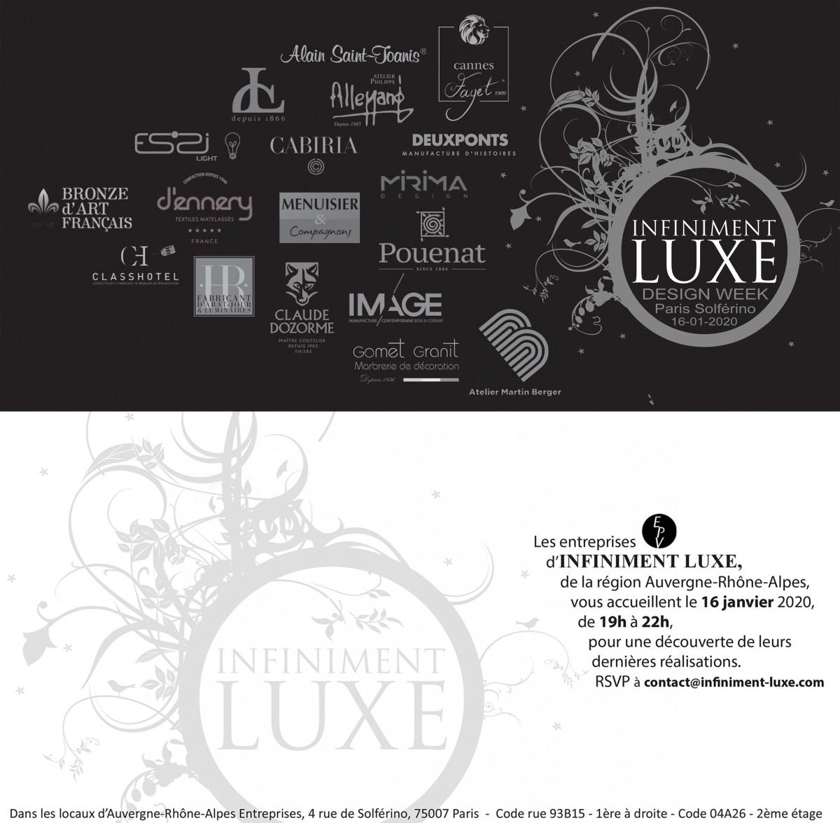 Soirée Infiniment Luxe Design Week à Paris